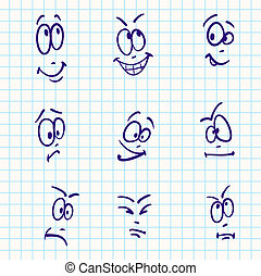 Emotion, vector set of nine face - angry; active; art; blue;...