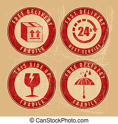 delivery seals over vintage background vector illustration