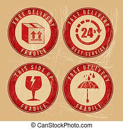 delivery seals over vintage background vector illustration