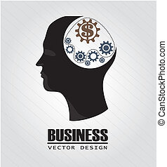 business think over gray background vector illustration