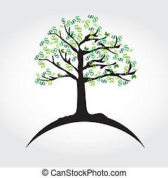 money tree over white backgroun vector illustration