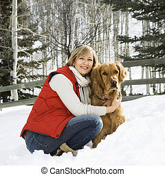Woman with dog - Attractive smiling mid adult Caucasian...