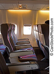 Interior of Airplane - The interior of an airplane cabin...