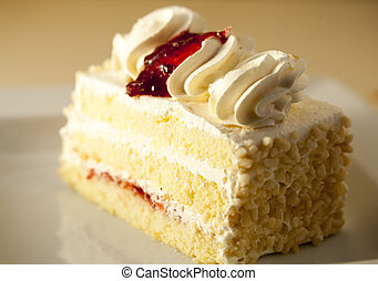 Slice of vanilla cream cake