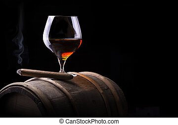 Cognac and Cigar on black with vintage barrel - Cognac and...