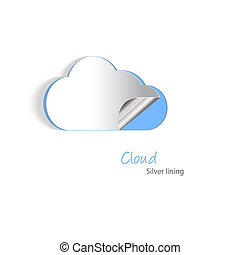 Cloud cutout - Paper cutouts of a cloud with a silver...
