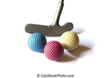 Mini Golf Material - 07 - Mini Golf Stick with colored balls...