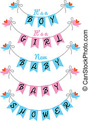 cute baby shower, vector design - baby shower with bunting...