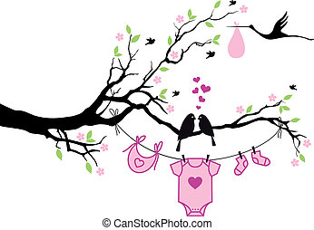 baby girl with birds on tree, vecto