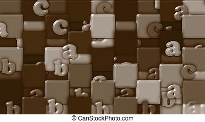 chocolate cartoon alphabet paper card on square...