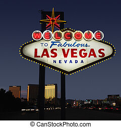 Las Vegas welcome sign - Lighted Las Vegas, Nevada welcome...