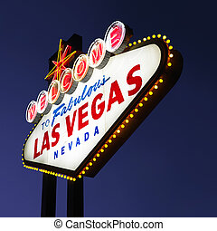 Las Vegas welcome sign - Lighted Las Vegas welcome sign with...