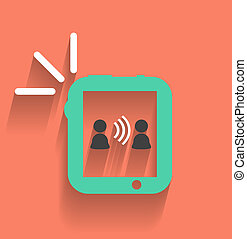 Phone / tablet communication icon modern flat design