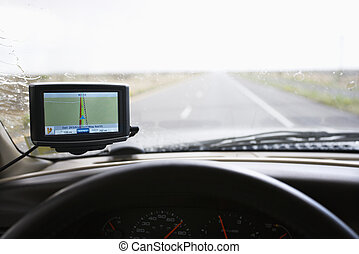 Vehicle with GPS. - Vehicle dashboard with GPS and view...