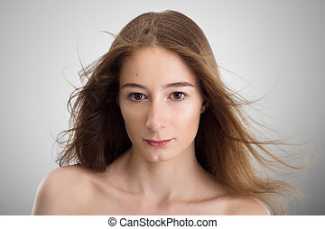 Young beautyfull woman with flowing hair - Portrait of young...