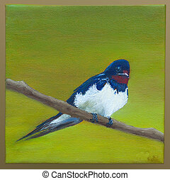 Painting of a swallow