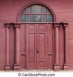 Traditional Crimson Wooden Door Thai