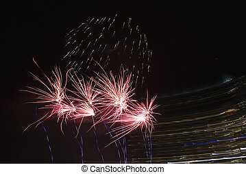 Multicolored fireworks. - Colorful fireworks exploding in...