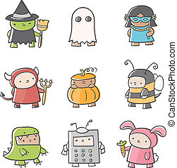 Fun Costumes - Illustrations of various costumes.