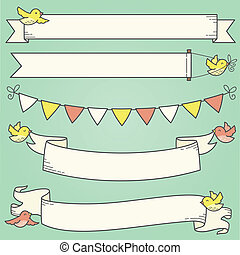 Horizontal Banners and Birds - Illustration of banners and...