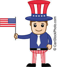Uncle Sam Holding USA Flag