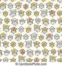 Nerd Bird Pattern - Seamless pattern of nerdy birds wearing...