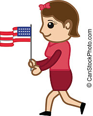 Patriotic Lady with USA Flag