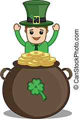 Happy Leprechaun with Cauldron