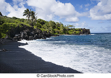 Black sand beach in Maui. - Black sand beach in Maui,...