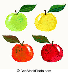 Vector illustration of apple fruits - Set of 4 images for...