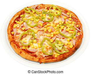 Pizza Mexicana with cheese tomatoes hot peppers corn and...