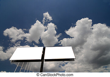 two blank billboard against blue sky, for more billboard...