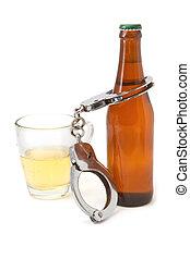 garrafa, Cerveja, algemas, bêbado, dirigindo, conceito