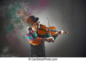 Violinist with pipe surrounded by colorful smoke