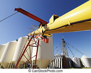 Grain silo storage - Metal grain storage silo facility...