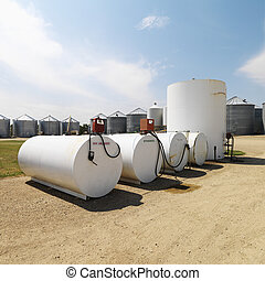 Fuel tanks and pumps - Fuel tanks labeled unleaded and...