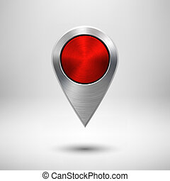 Technology Map Pointer with Red Metal Texture - Technology...