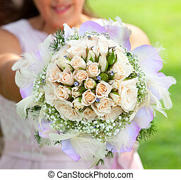 Wedding bouquet with small roses