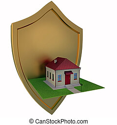 Guard of home concept 3d illustration on a white