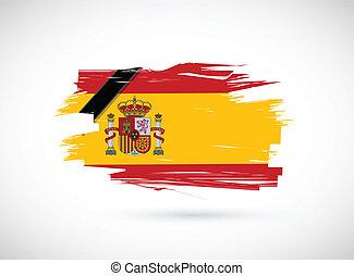 in memory spanish flag. spain ink flag over white.