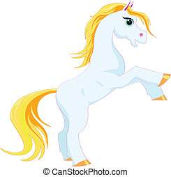 cartoon horse - blue cartoon horse with the golden mane on a...