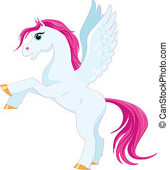 fairytale blue pegasus with a pink mane on a white...