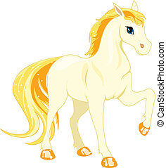 white horse - Cartoon white horse with golden mane on a...
