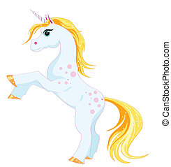 fantastic unicorn with a golden mane and tail on a white...