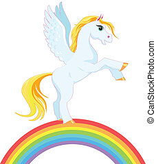 Pegasus on a rainbow - Pegasus with a golden mane and tail...