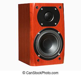 Loudspeaker - Dark cherry loudspeaker isolated over white...
