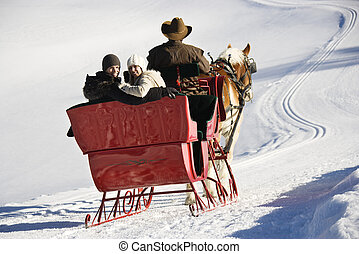 Sleigh ride in winter - Rear view of man driving horse drawn...