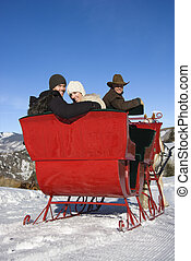 Sleigh ride in winter - Rear view of young Caucasian couple...