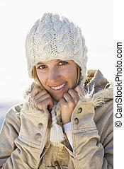 Woman in winter.