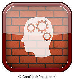 Bricks wall icon - Square shiny icon with white design on...